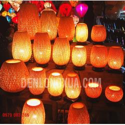 Đèn tre đan hình trụ để bàn