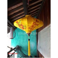 Đèn lồng đĩa bay thêu hoa và chữ An Khang Thịnh Vượng