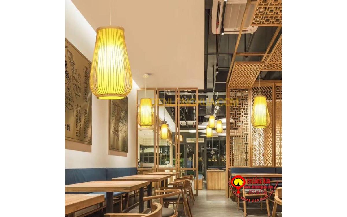 Đèn thả trần mây tre trang trí cho nhà hàng