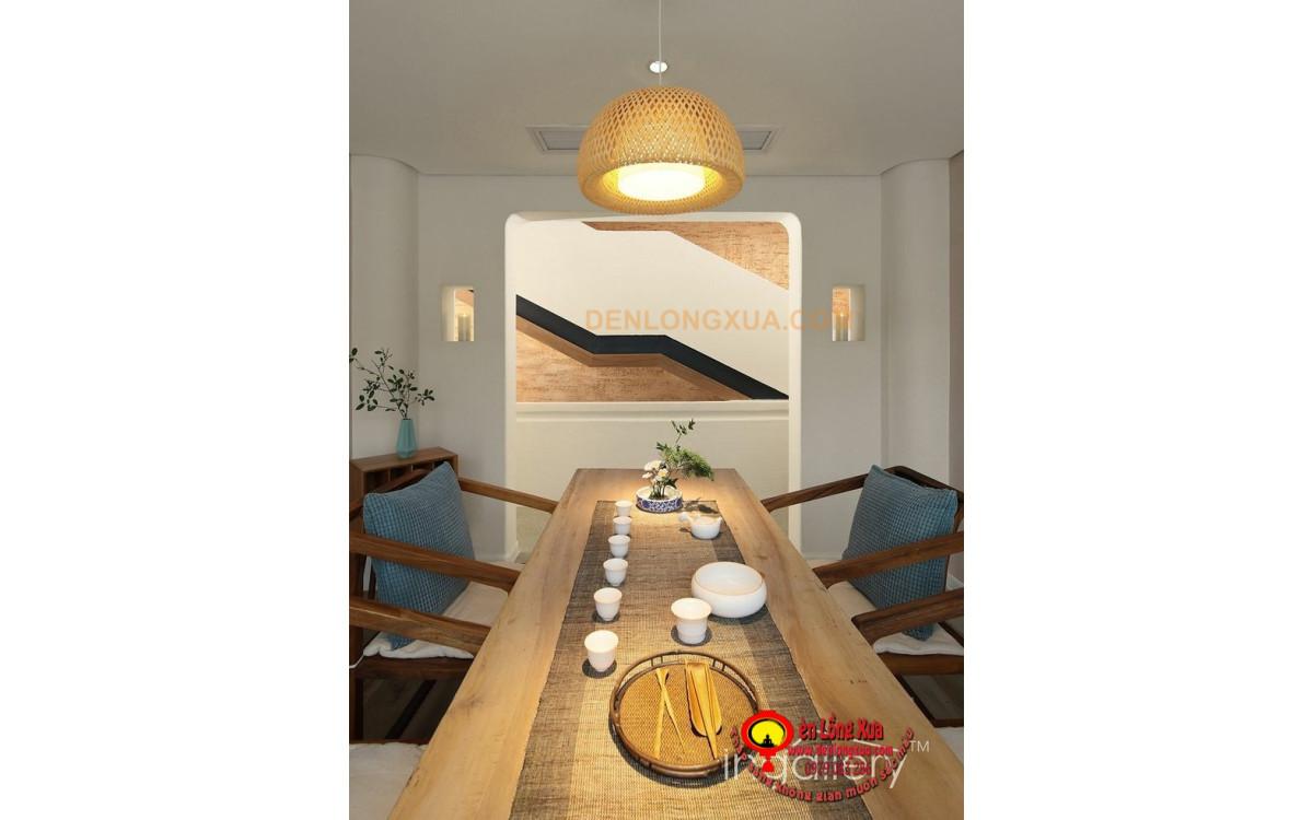 Đèn tre treo bàn ăn đẹp cho không gian nhà biệt thự