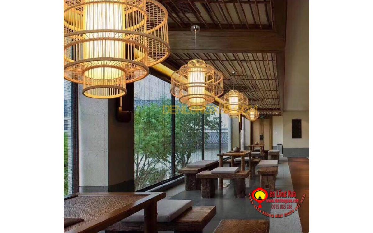 Đèn trụ tre trang trí quán trà đạo