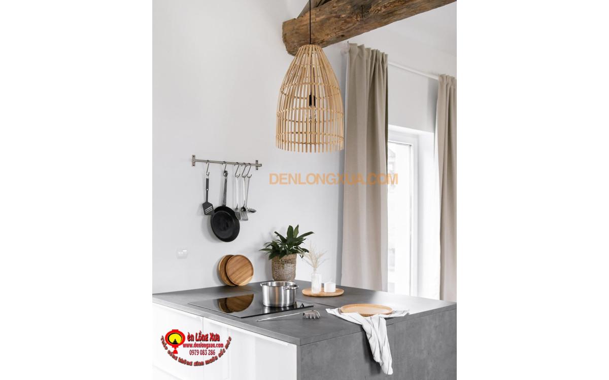 Đèn nơm tre trang thưa trang trí phòng bếp hiện đại