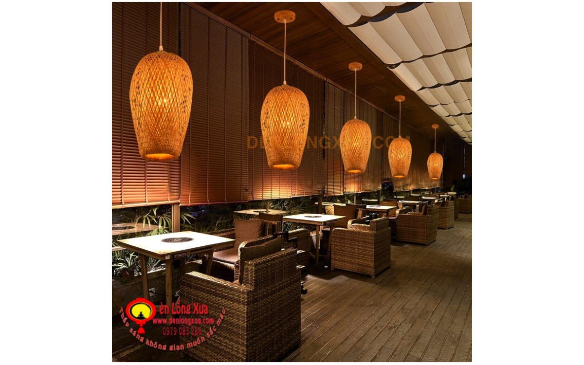 Đèn trụ tre trang trí cho nhà hàng cafe đẹp