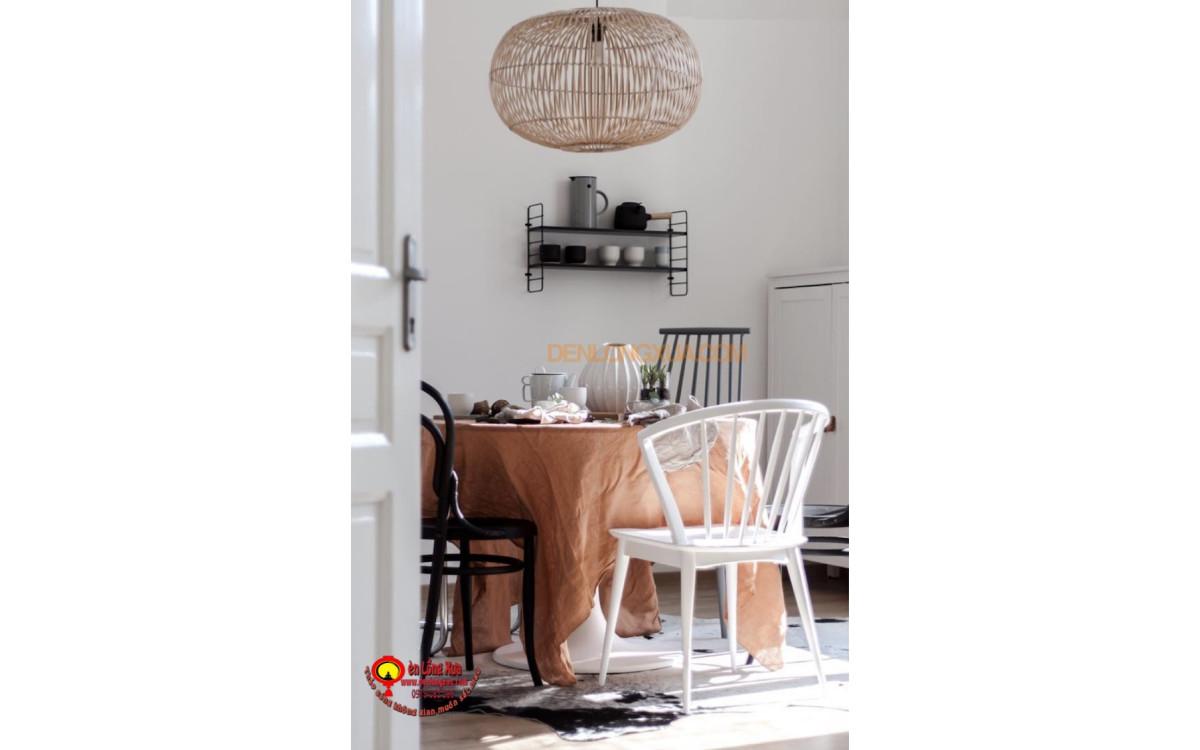 Đèn tre kiểu tròn trang trí phòng ăn gia đình