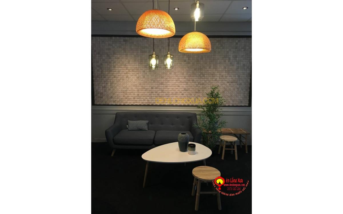 Chảo đèn tre thả quán cafe trang trí