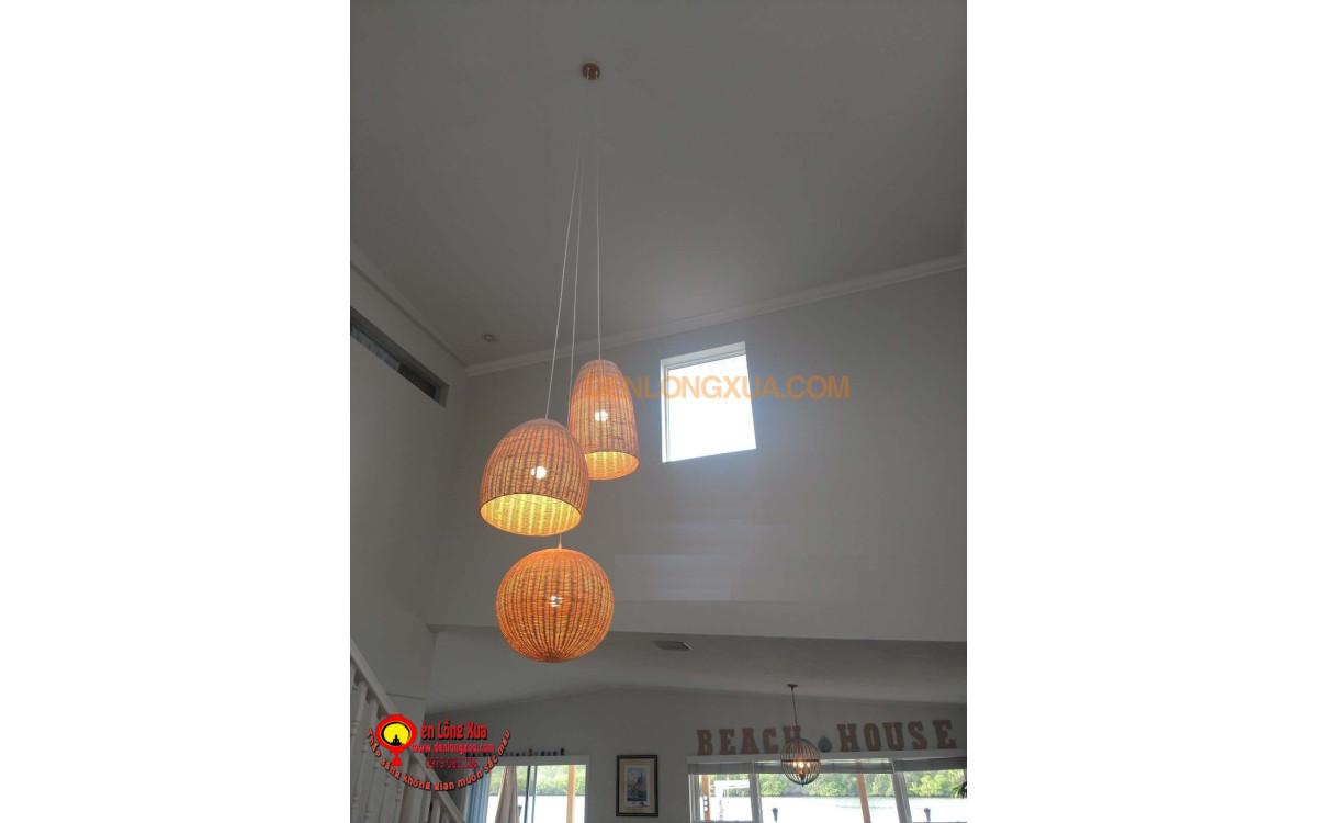Chùm đèn mây trang trí không gian quán cafe
