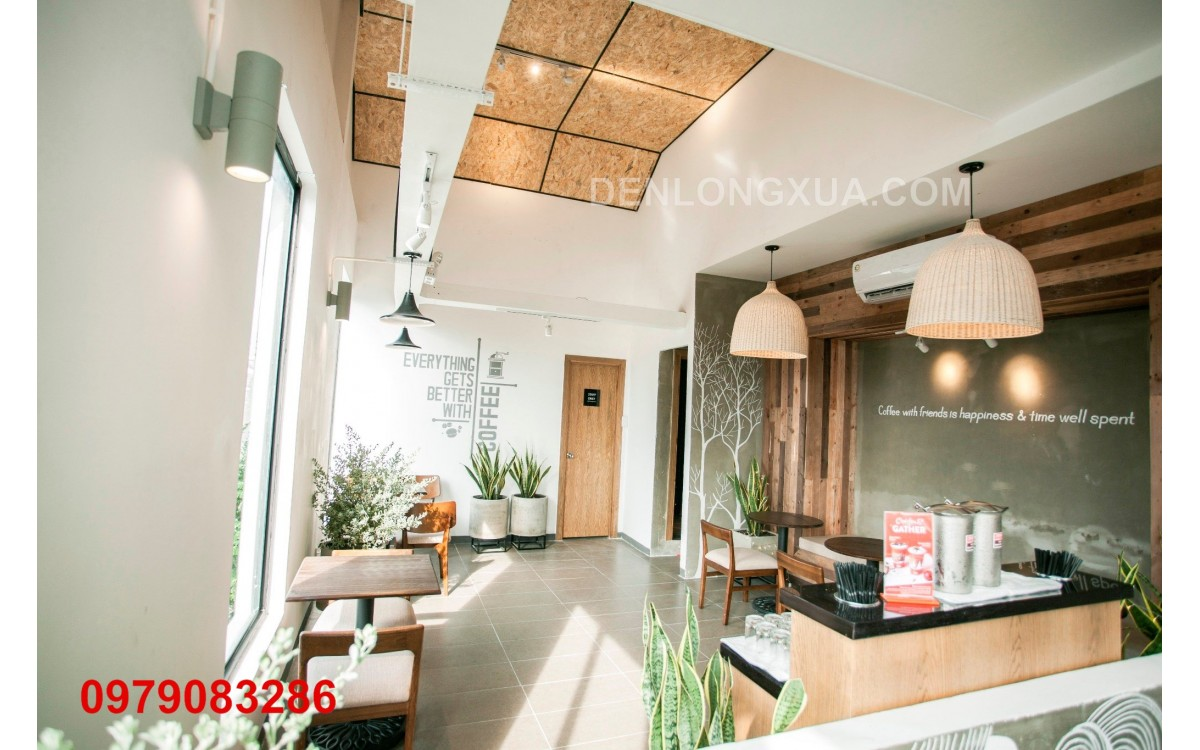 Đèn chuông mây trang trí không gian quán cafe hiện đại