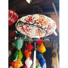 Đèn lồng đĩa bay  vải đũi vẽ hoa đào