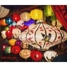 Đèn lồng đĩa bay vẽ hoa đào